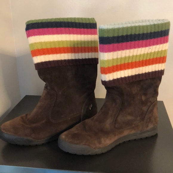 Coach Leather/Suede and Wool Winter Boots